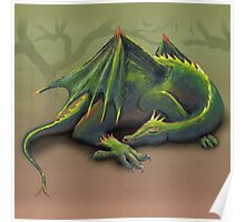 Sleeping green dragon Poster