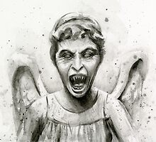 Weeping Angel Watercolor - Doctor Who Fan Art by OlechkaDesign