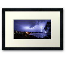 Lightning over Moffat Beach Framed Print