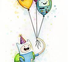 Finn with Birthday Balloons Jake Princess Bubblegum BMO by OlechkaDesign