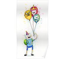 Finn with Birthday Balloons Jake Princess Bubblegum BMO Poster