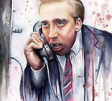 Nicolas Cage   A Vampire's Kiss   Watercolor Painting by OlechkaDesign
