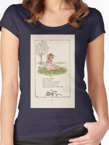 Mother Goose or the Old Nursery Rhymes by Kate Greenaway 1881 0044 Little Miss Muffet Women's Fitted Scoop T-Shirt