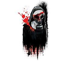 Dark Gas Mask Nun Photographic Print