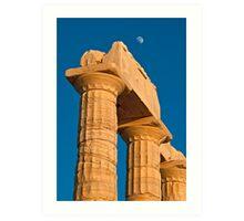 Temple of Poseidon and the moon Art Print