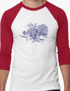 Grisaille Watercolor Peony Men's Baseball ¾ T-Shirt
