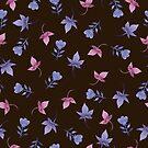 - Cute watercolor flower pattern (black) - by Losenko  Mila