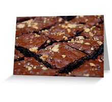 Brownies with nuts and chocolate. Greeting Card