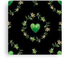 - Green heart pattern (black) - Canvas Print