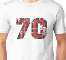 Number 70 Black/Red Vintage 70th Birthday Design Unisex T-Shirt