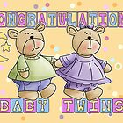Baby Twins Congratulations Card by Moonlake