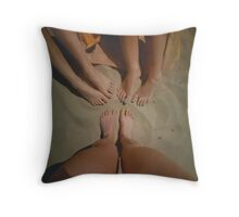 at the Beach with Friends Throw Pillow