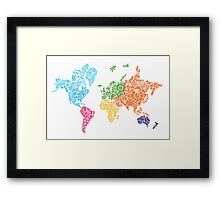 Steampunk Map of the World Framed Print