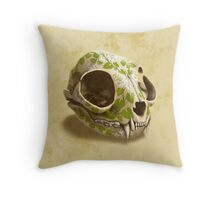 cat skull decorated with wasabi flowers Throw Pillow