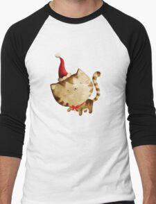 Cute Christmas Cat  - Santa's Helper Men's Baseball ¾ T-Shirt