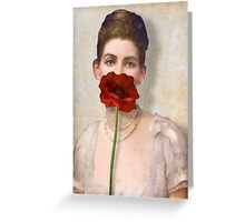 Girl with Red Poppy Flower Greeting Card