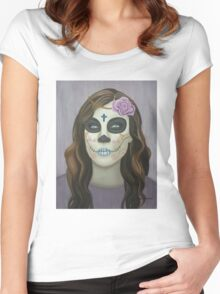 Sugar Skull Violet Women's Fitted Scoop T-Shirt