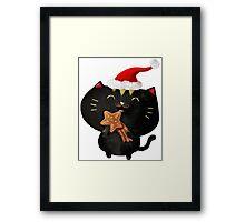 Christmas Black Cute Cat Framed Print