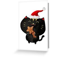Christmas Black Cute Cat Greeting Card