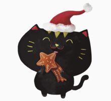 Christmas Black Cute Cat One Piece - Short Sleeve