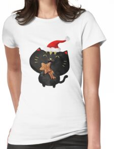 Christmas Black Cute Cat Womens Fitted T-Shirt