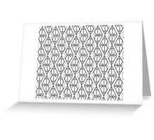 Black on White Deathly Hallows Pattern Greeting Card