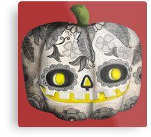 Jack O Lantern Sugar Skull Pumpkin Head Metal Print