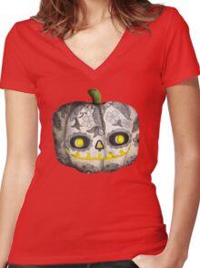 Jack O Lantern Sugar Skull Pumpkin Head Women's Fitted V-Neck T-Shirt