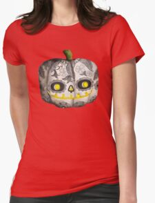 Jack O Lantern Sugar Skull Pumpkin Head Womens Fitted T-Shirt