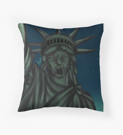 Statue of Liberty-Weeping Angel   Throw Pillow