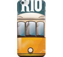 Rio Brazil Vintage Tram vacation travel poster. Brazil tram holiday print. iPhone Case/Skin