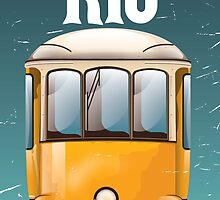 Rio Brazil Vintage Tram vacation travel poster. Brazil tram holiday print. by Nick  Greenaway