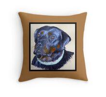 Rottweiler Portrait Throw Pillow