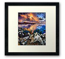 Sunset on the Rocks Framed Print