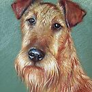 """Irish Pride"" (Irish Terrier dog) by Elena Kolotusha"