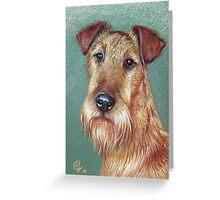 """Irish Pride"" (Irish Terrier dog) Greeting Card"