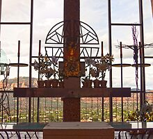 The Altar of The Chapel of the Holy Cross  (in HDR) - Sedona, AZ by Barb White