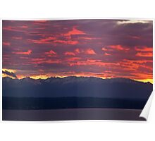 May sunset over the Olympic Mountains Poster