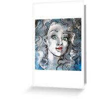 Raw Looks Abstract Woman's Face Greeting Card
