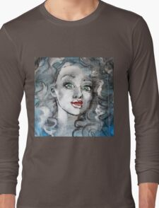 Raw Looks Abstract Woman's Face Long Sleeve T-Shirt