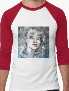 Raw Looks Abstract Woman's Face Men's Baseball ¾ T-Shirt