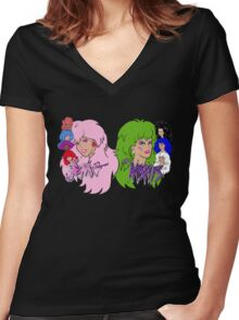 Jem and the Holograms Vs The Misfits Women's Fitted V-Neck T-Shirt