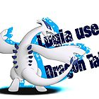 Lugia use Dragon Tail - white background by SilveryDreams