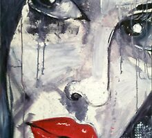 Raw Looks Red Lips Face by BellaArtGallery