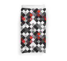 Bold Block Black White Red Diagonal Pattern Duvet Cover