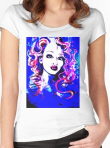 Raw Looks - Woman's Face Painting Digital Half Tone Women's Fitted Scoop T-Shirt