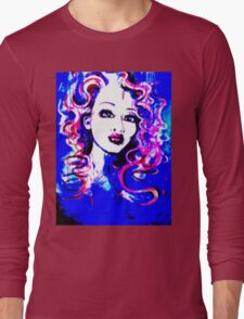 Raw Looks - Woman's Face Painting Digital Half Tone Long Sleeve T-Shirt