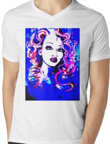 Raw Looks - Woman's Face Painting Digital Half Tone Mens V-Neck T-Shirt