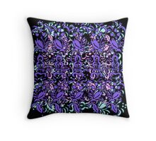 Floral Multi Layer Pattern - Purple Shades Throw Pillow