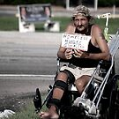 Homeless guy in wheelchair by Amanda Huggins